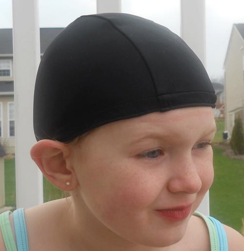 Black lycra swim cap