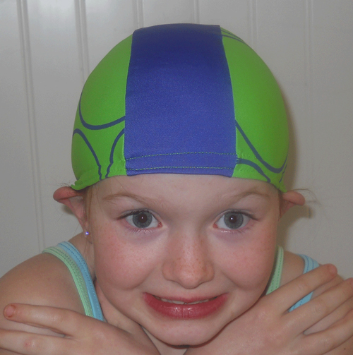 Green and Blue lycra swim cap