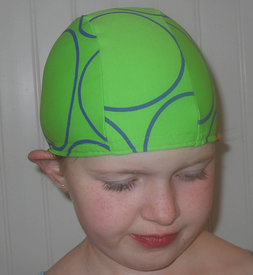 Green Circles lycra swim cap