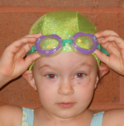 Lime Green Sparkle lycra swim cap