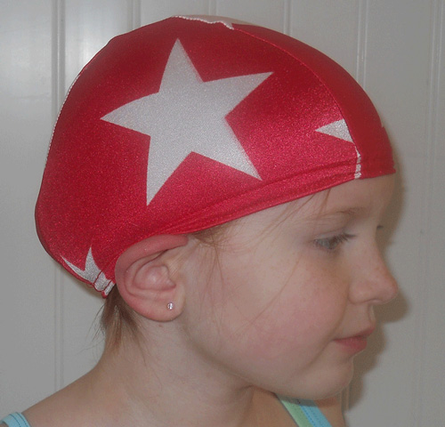 Red and White Stars lycra swim cap