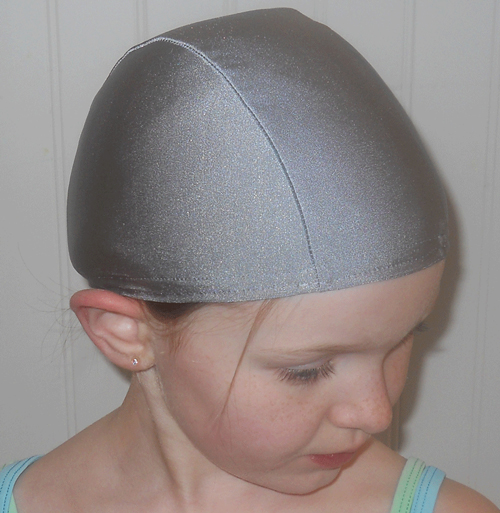 Silver lycra swim cap