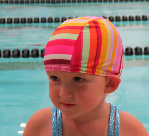 Happy Stripes lycra swim cap