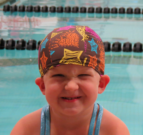 Happy Girl lycra swim cap