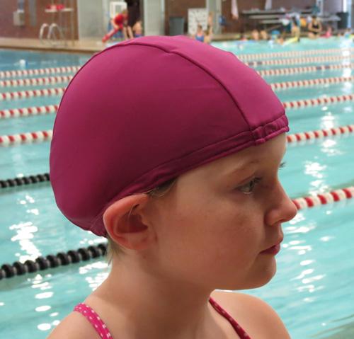 Mauve lycra swim cap