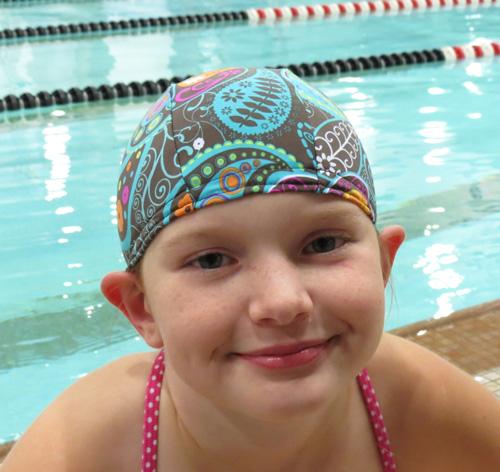 Pretty Paisley lycra swim cap