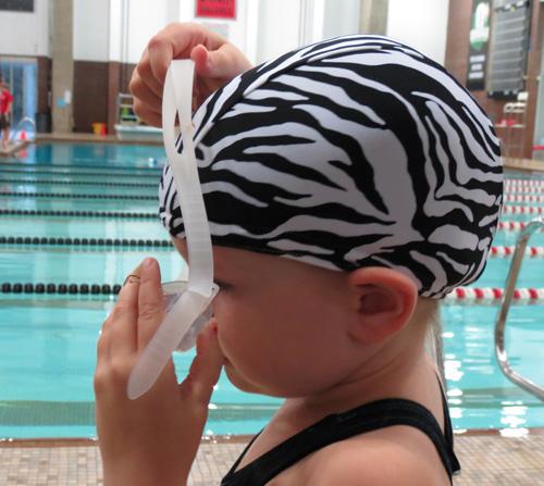 Zebra Print lycra swim cap