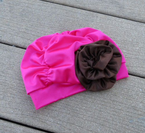 Fancy Ruched Hot Pink Lycra Swim Cap with Brown Flower