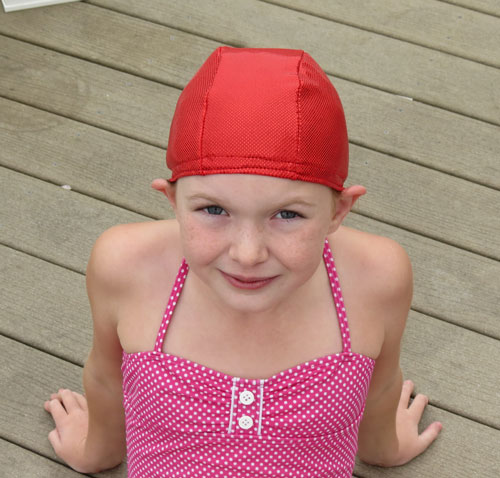 Red Sparkle lycra swim cap