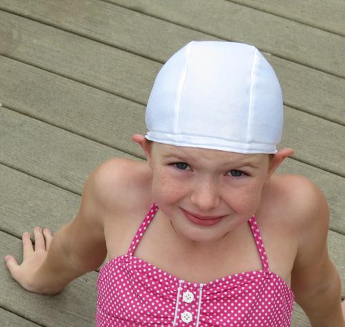 White Shimmer lycra swim cap