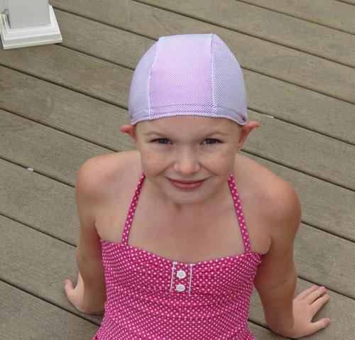 Light Pink Sparkle lycra swim cap