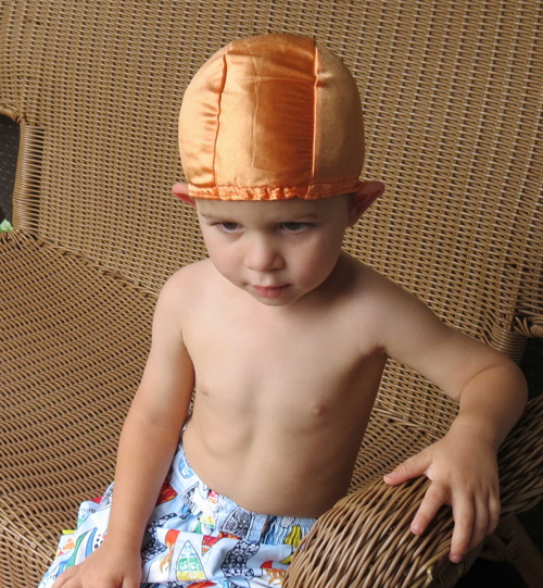 Amber lycra swim cap