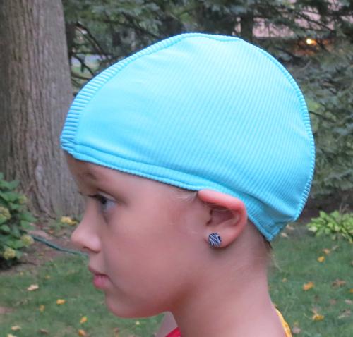 Aqua Blue Ribbed lycra swim cap