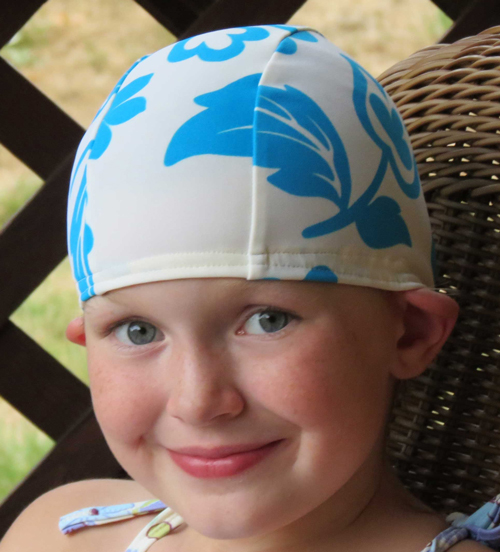 Blue Spring Flowers lycra swim cap