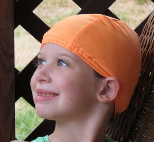Bright Orange lycra swim cap