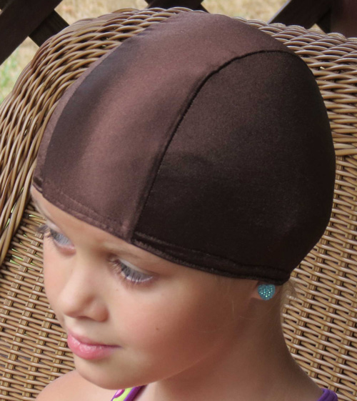 Brown lycra swim cap