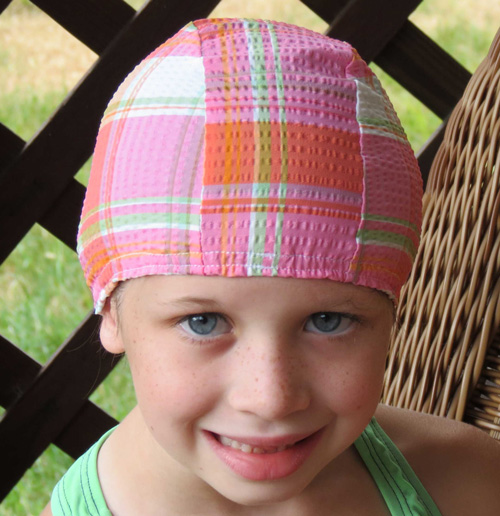 Country Girl Plaid lycra swim cap