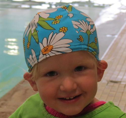 Aqua Daisy lycra swim cap
