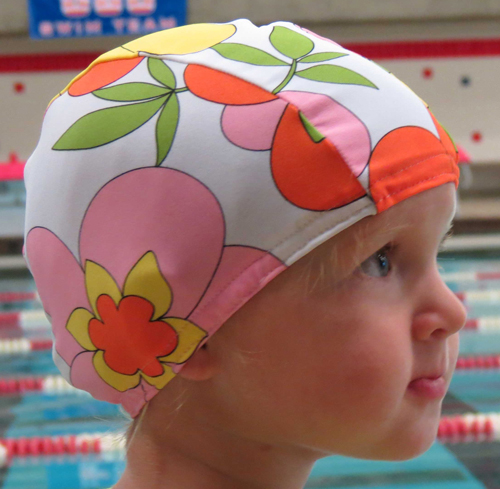 Flower Power lycra swim cap