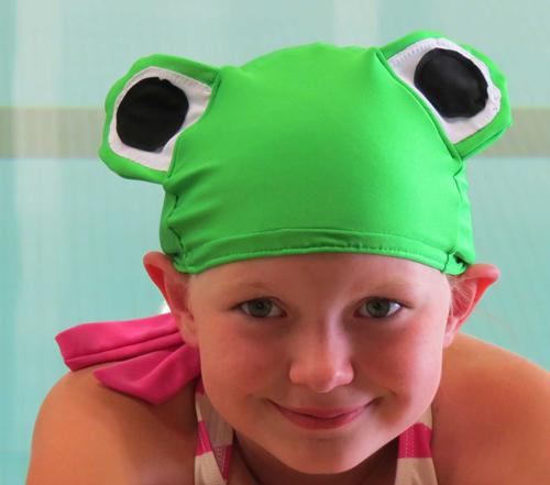 Frog lycra swim cap