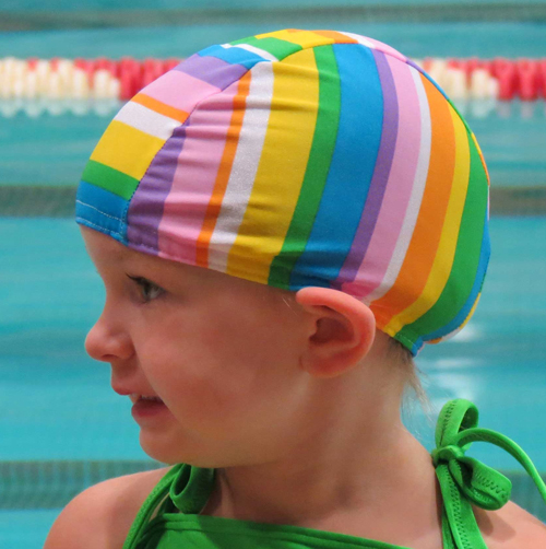 Girly Stripes lycra swim cap
