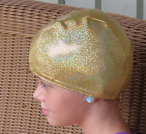 Gold Sparkle lycra swim cap