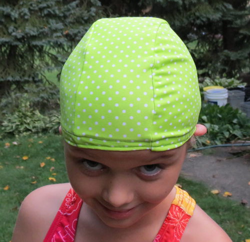 Lime Green Pin Dot lycra swim cap