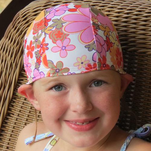 Pink Vintage Floral lycra swim cap