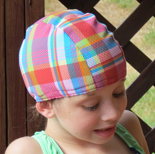 Pool Party Plaid lycra swim cap