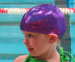 Purple Sparkle lycra swim cap