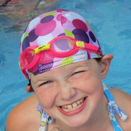 Sparkle Dots lycra swim cap