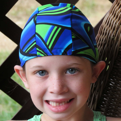 Team Swirls lycra swim cap