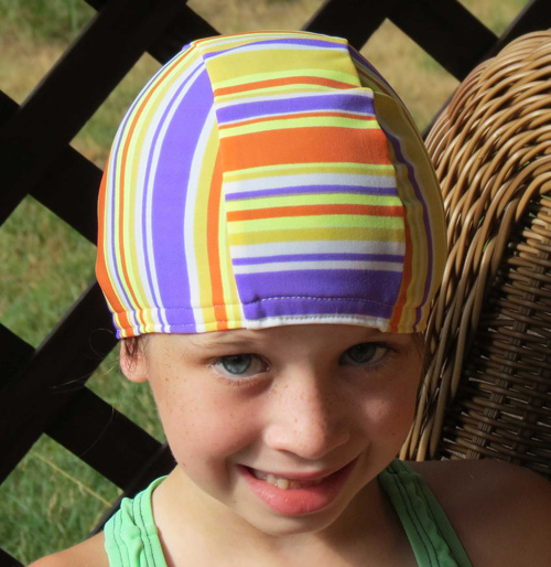 Summer Stripe lycra swim cap