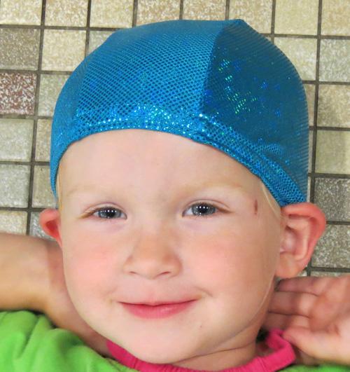 Turquoise Sparkle lycra swim cap