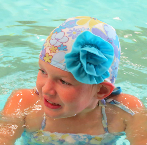 Blue Vintage Floral lycra swim cap with Flower