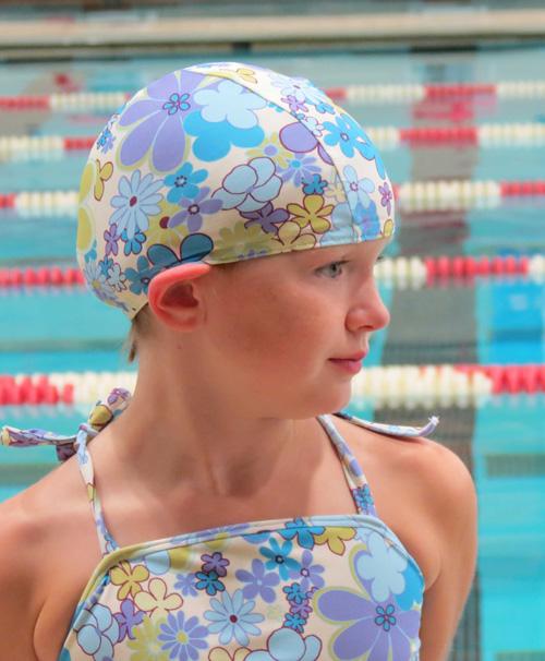 Blue Vintage Floral lycra swim cap