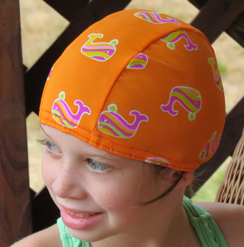 Whale of a Good Time lycra swim cap