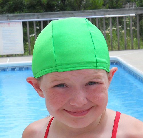 Apple Green lycra swim cap