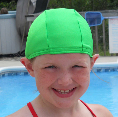 Apple Green lycra swim cap