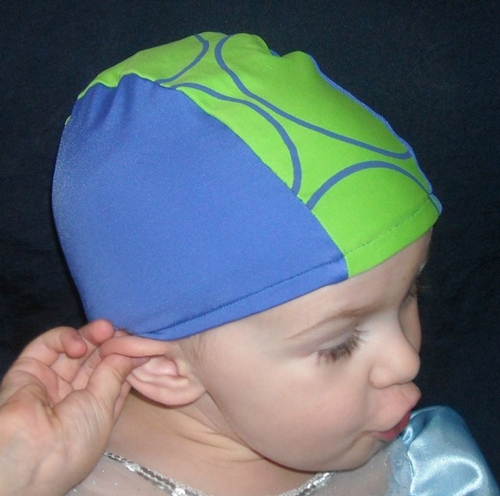 Blue and Green lycra swim cap