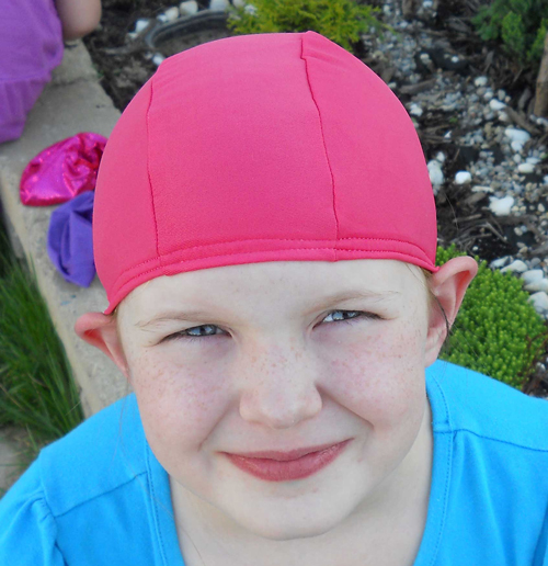 Salmon lycra swim cap