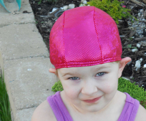 Hot Pink Sparkle lycra swim cap