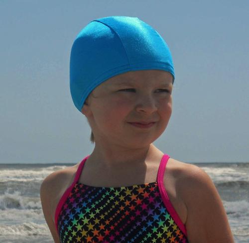 Turquoise Blue lycra swim cap