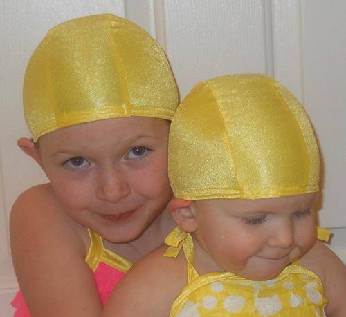 Lemon Yellow lycra swim cap