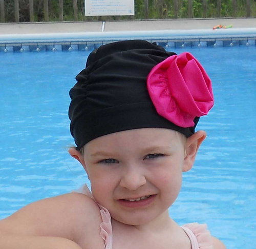 Fancy Ruched Black Lycra Swim Cap with Hot Pink Flower