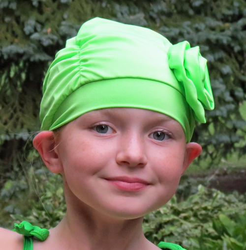Fancy Ruched Lime Green Lycra Swim Cap with Flower