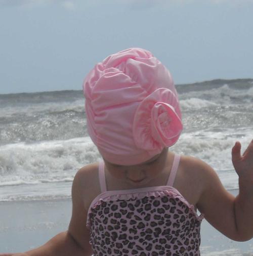 Fancy Ruched Light Pink Flower lycra swim cap