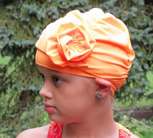 Fancy Ruched Orange Lycra Swim Cap with Flower