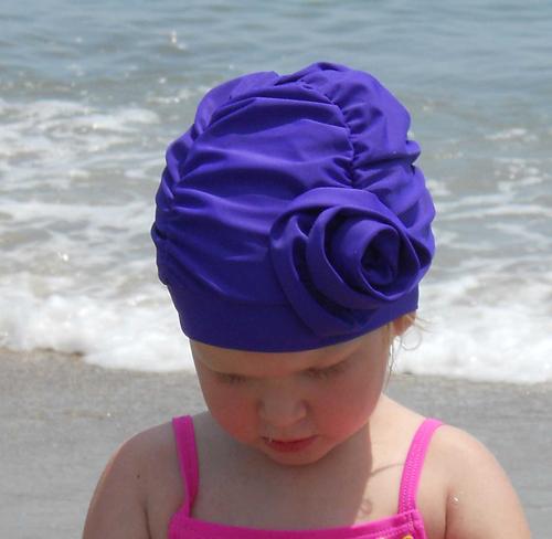 Fancy Ruched Purple Lycra Swim Cap with Flower