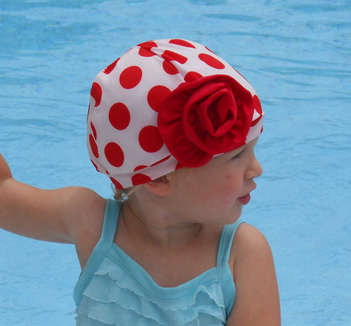 Fancy White and Red Polka Dot Swim Cap with Flower